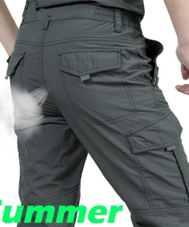 Men s Thin Pants Cargo Work Army Breathable Waterproof Quick Dry Men Pants Casual Summer Trousers